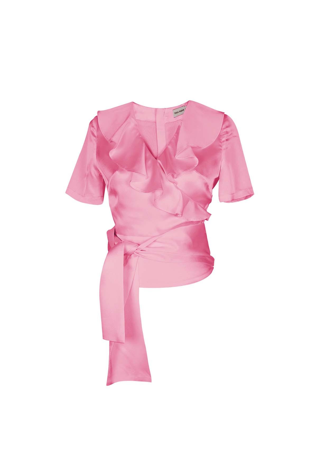 Teria Yabar - Top rosa de escote cruzado