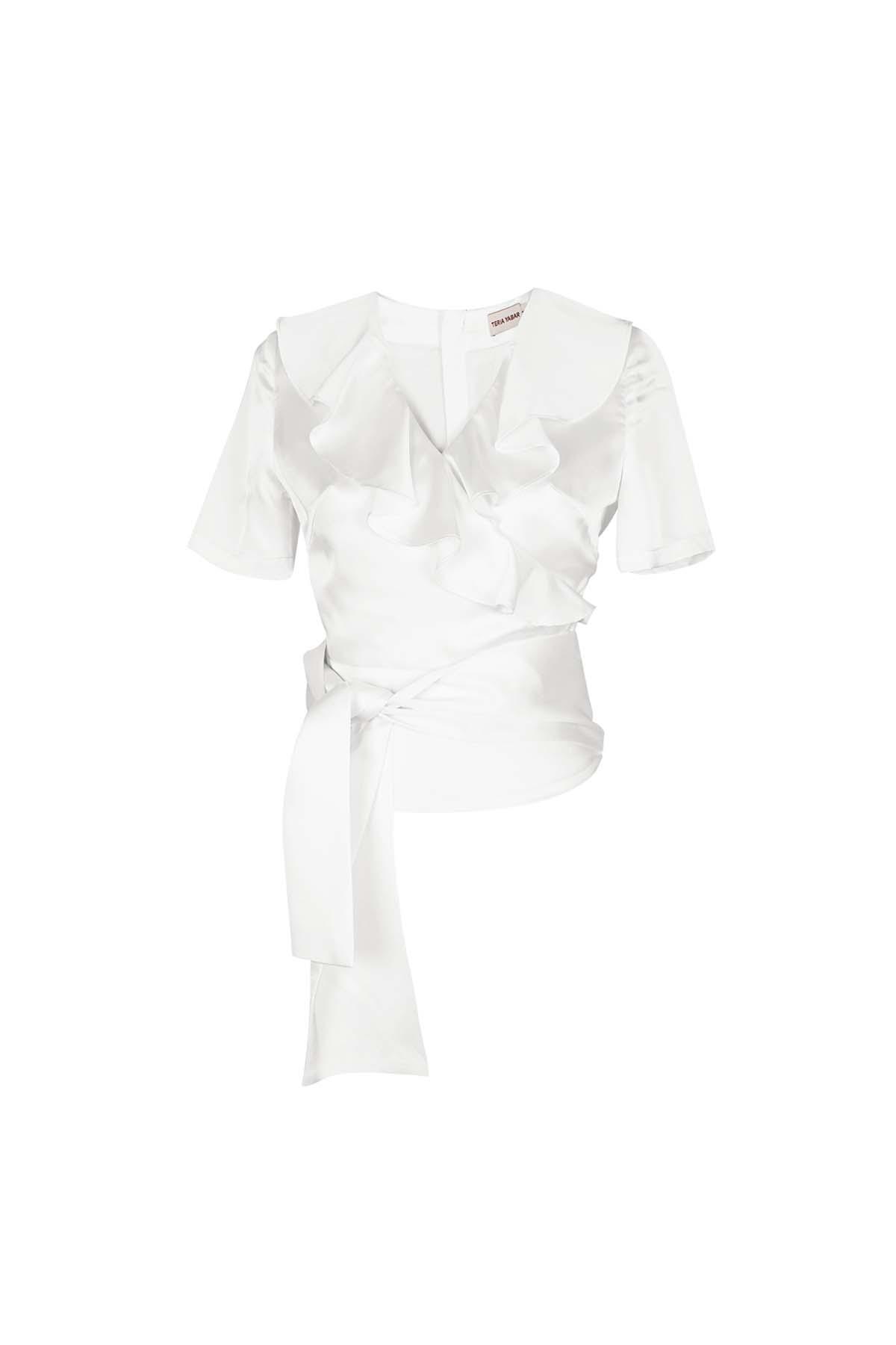 Teria Yabar - Top blanco de escote cruzado