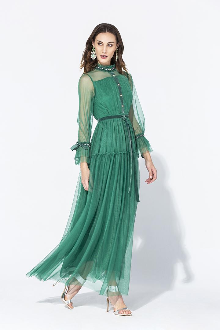 Vestido fantasía de tul verde