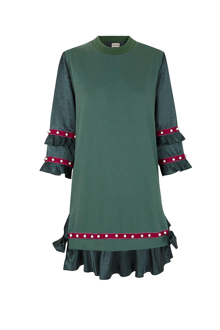 Vestido sudadera verde con volantes