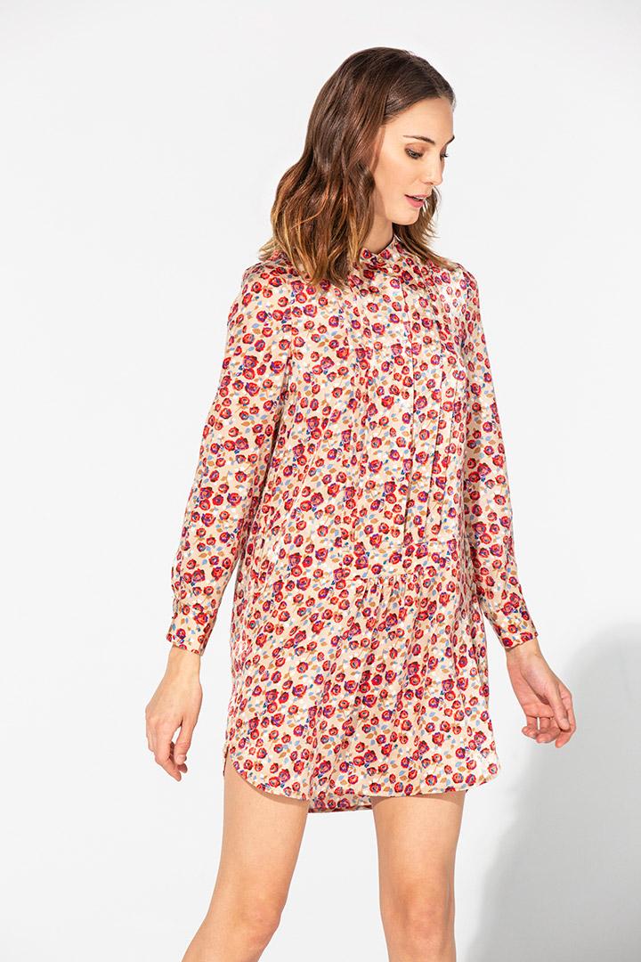Vestido camisero corto de flores