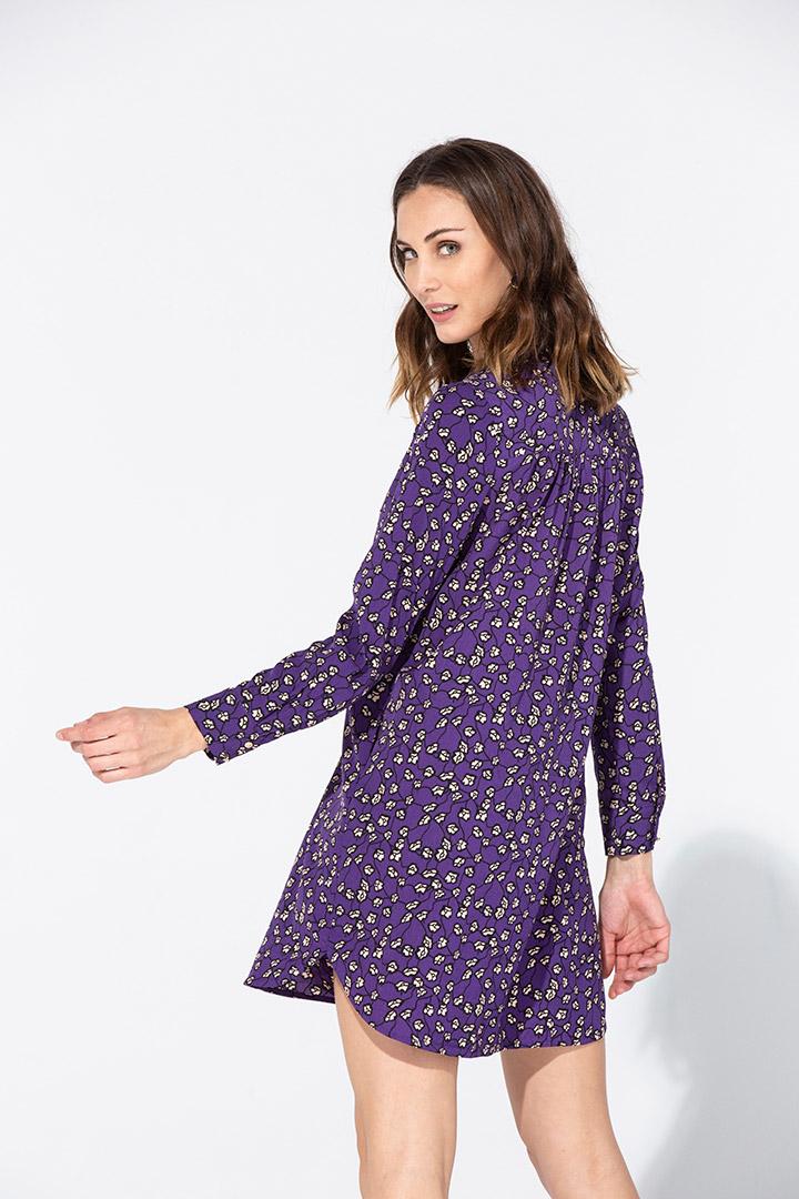 Vestido camisero corto estampado floral