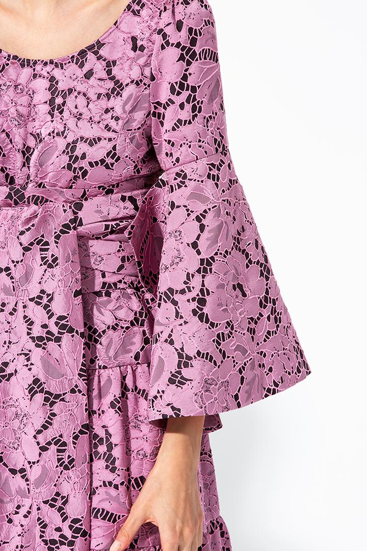 Vestido brocado rosa