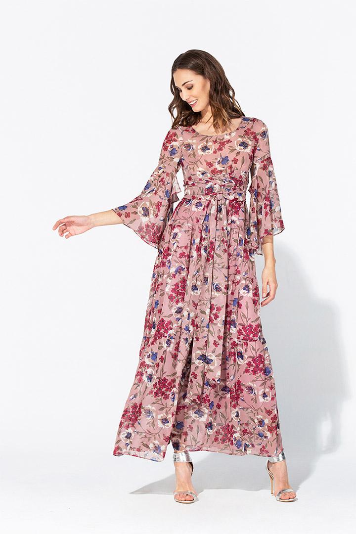 Vestido de gasa estampado floral