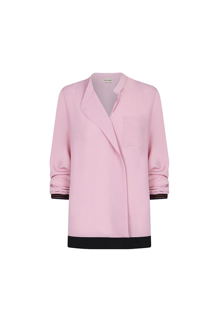Camisa rosa amplia de crepé
