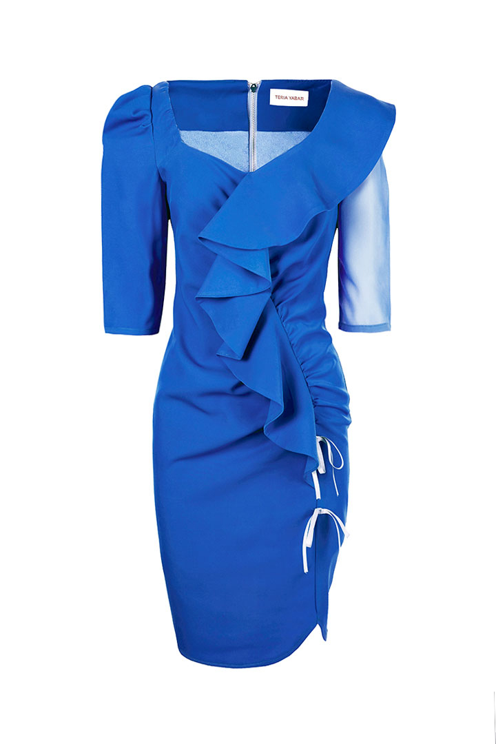 Vestido drapeado azul intenso