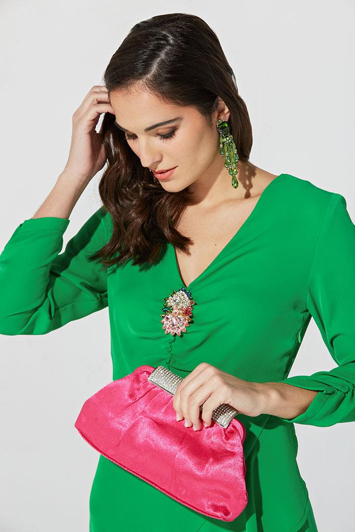 Vestido fruncido en color verde