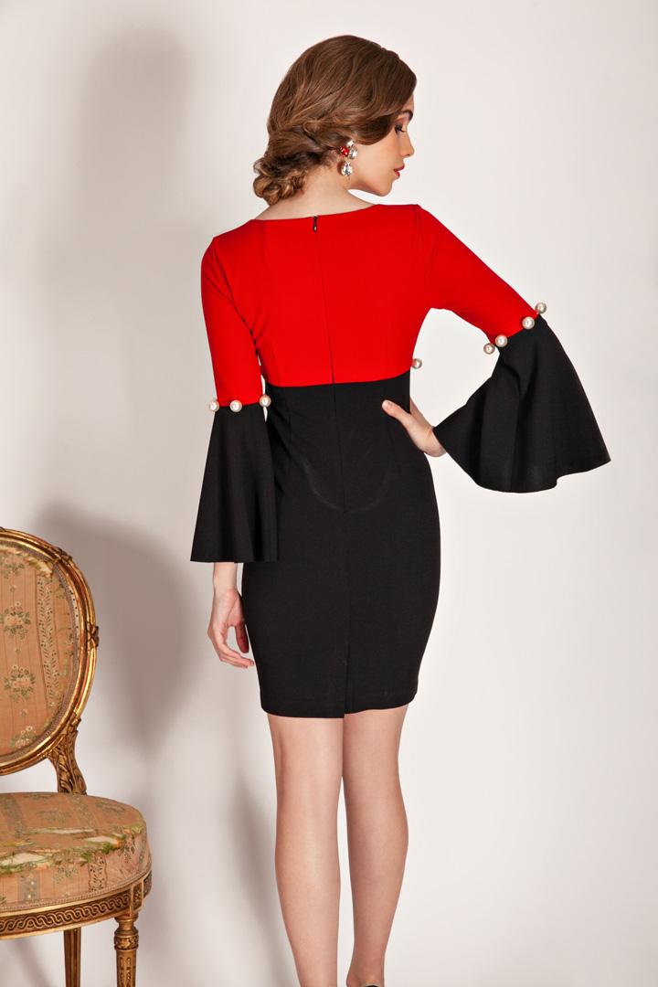 Vestido rojo bicolor