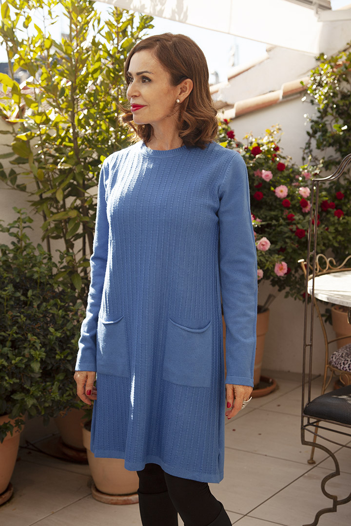 Vestido de Punto Azul Teria Yabar
