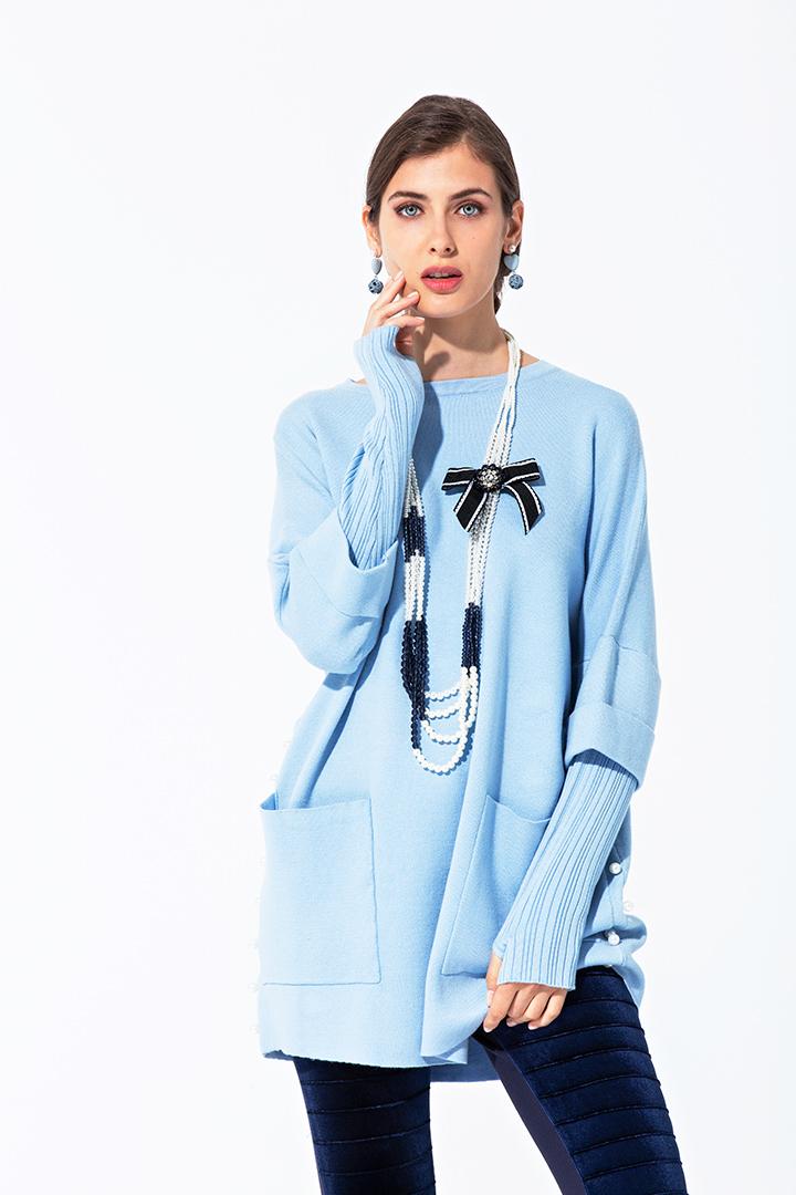 Jersey-vestido azul
