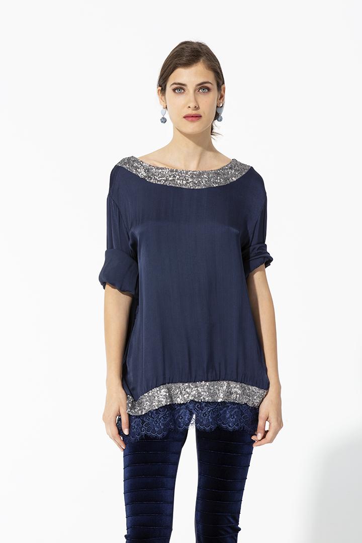 Camisa con lentejuelas navy Camisa Lentejuelas Marsala Basic Teria Yabar
