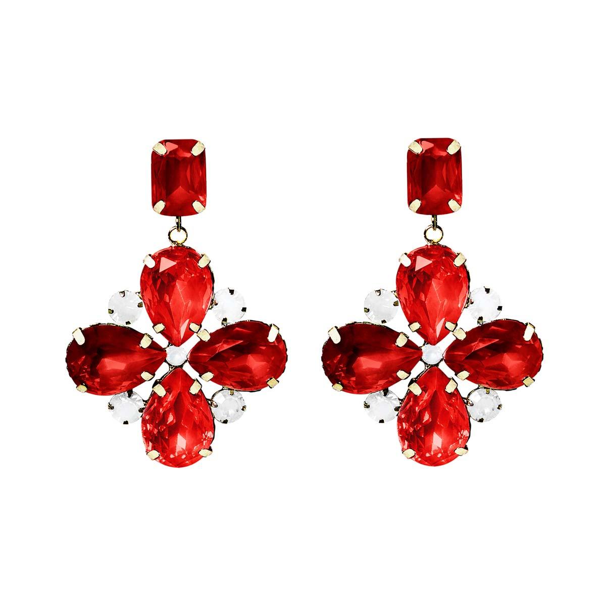 Teria Yabar - Pendientes semi largos de cristal rubí