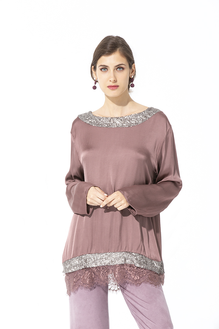 Camisa con Lentejuelas Basic Teria Yabar