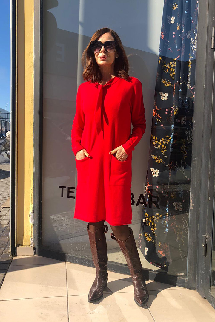 Vestido Lazada Rojo Teria Yabar