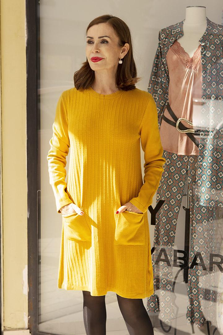 Vestido de Punto Mostaza Teria Yabar